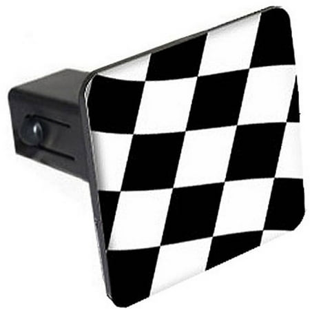 """Checkered Flag, Racing 1.25"""" Tow Trailer Hitch Cover Plug Insert"""