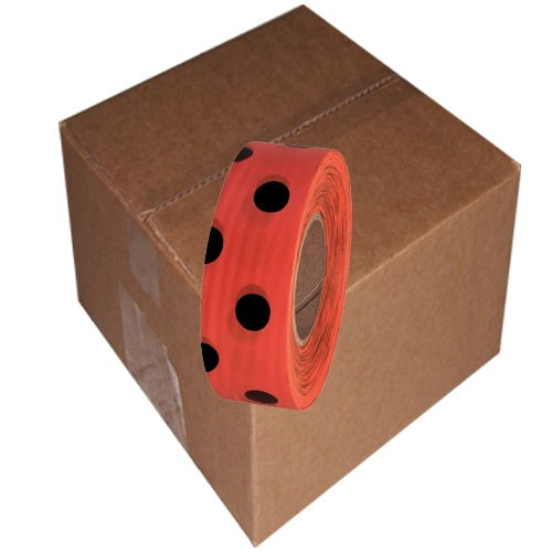 12 Roll Case of Orange and Black Polka Dot Flagging Tape 1 3/16 inch x 300 ft Non-Adhesive