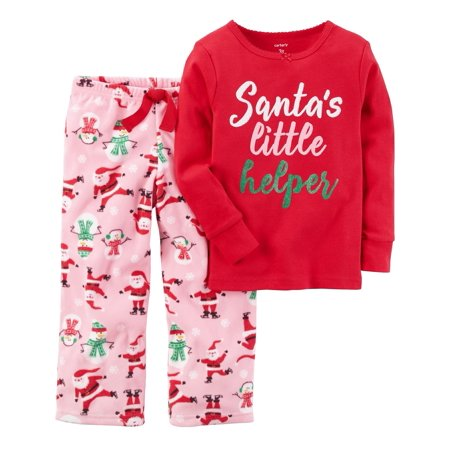 Carter's Baby Girls' 2-Piece Holiday Cotton Fleece PJs,