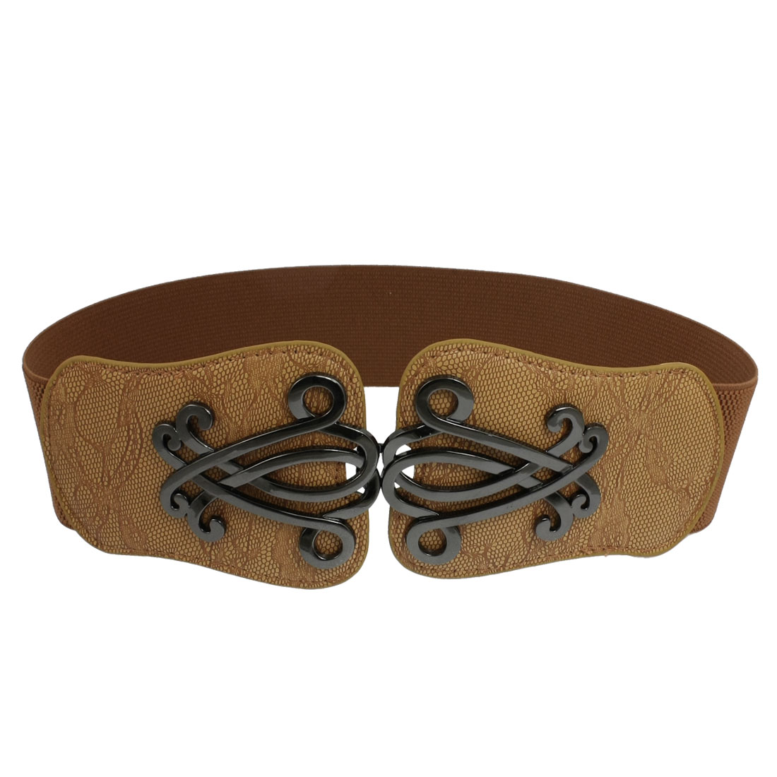"2.4"" Wide Metal Flower Decor Faux Leather Stretchy Cinch Belt for Woman"