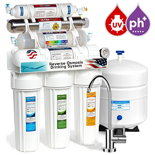 Express Water 11 Stage UV Ultraviolet + Alkaline + Reverse Osmosis Home Drinking Water Filtration System 100 GPD RO Membrane Filter - Modern Faucet - Pressure Gauge