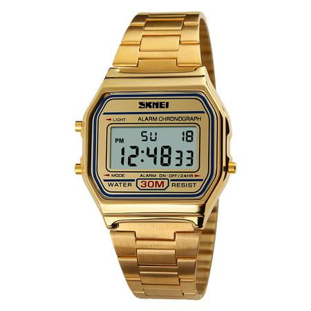 SKMEI Cool Digital Men Women Bussiness Wristwatch Luxury Vintage Luminous Couple Watch 3ATM Water-resistant Multi-function Unisex Sports Watch (Men Vintage Watch)