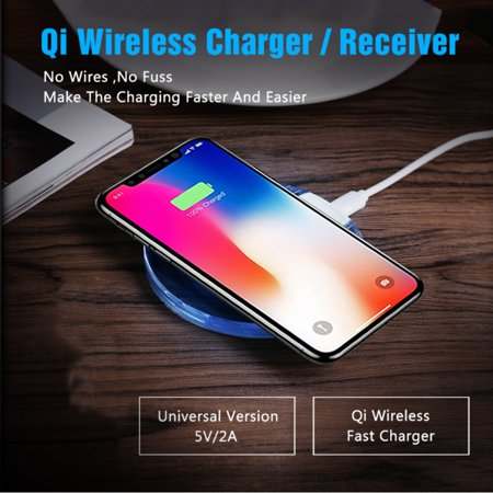 Charging Pad For iPhone X 8/8 Plus by Indigi® - Portable Wireless Charger Power Qi Charging Pad Mat Clear - image 2 de 5