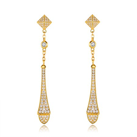 Barzel Vintage Inspired Gold Drop Earrings Made with Swarovski Elements