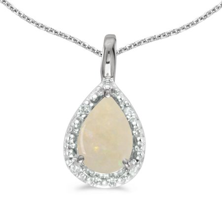 - 14k White Gold Pear Opal Pendant with 18