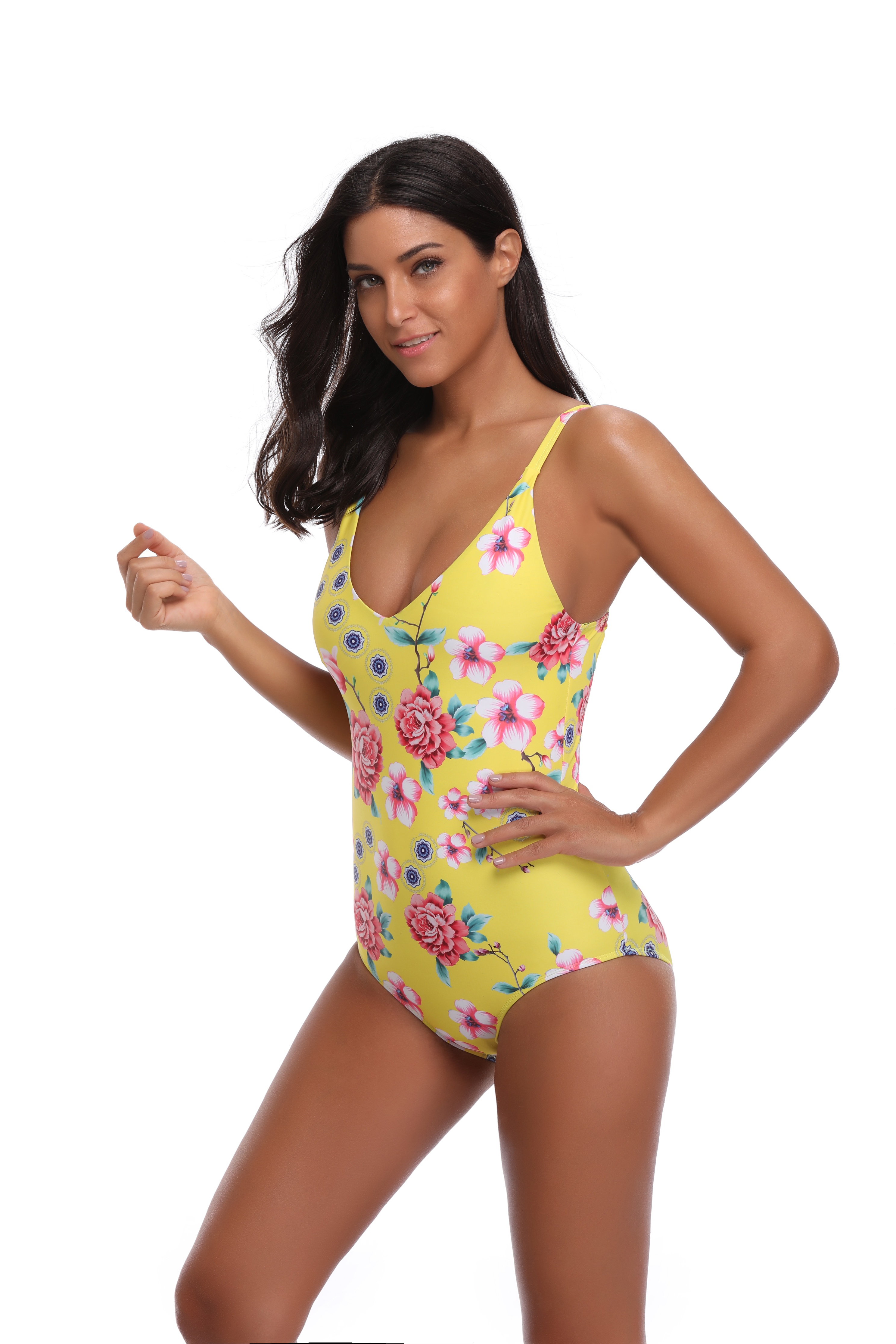 6f05bf0703d7e MOYI Women One Piece Deep Plunge Contrast Edged Getaway Halter Monokini  Swimsuits With Rose Printing
