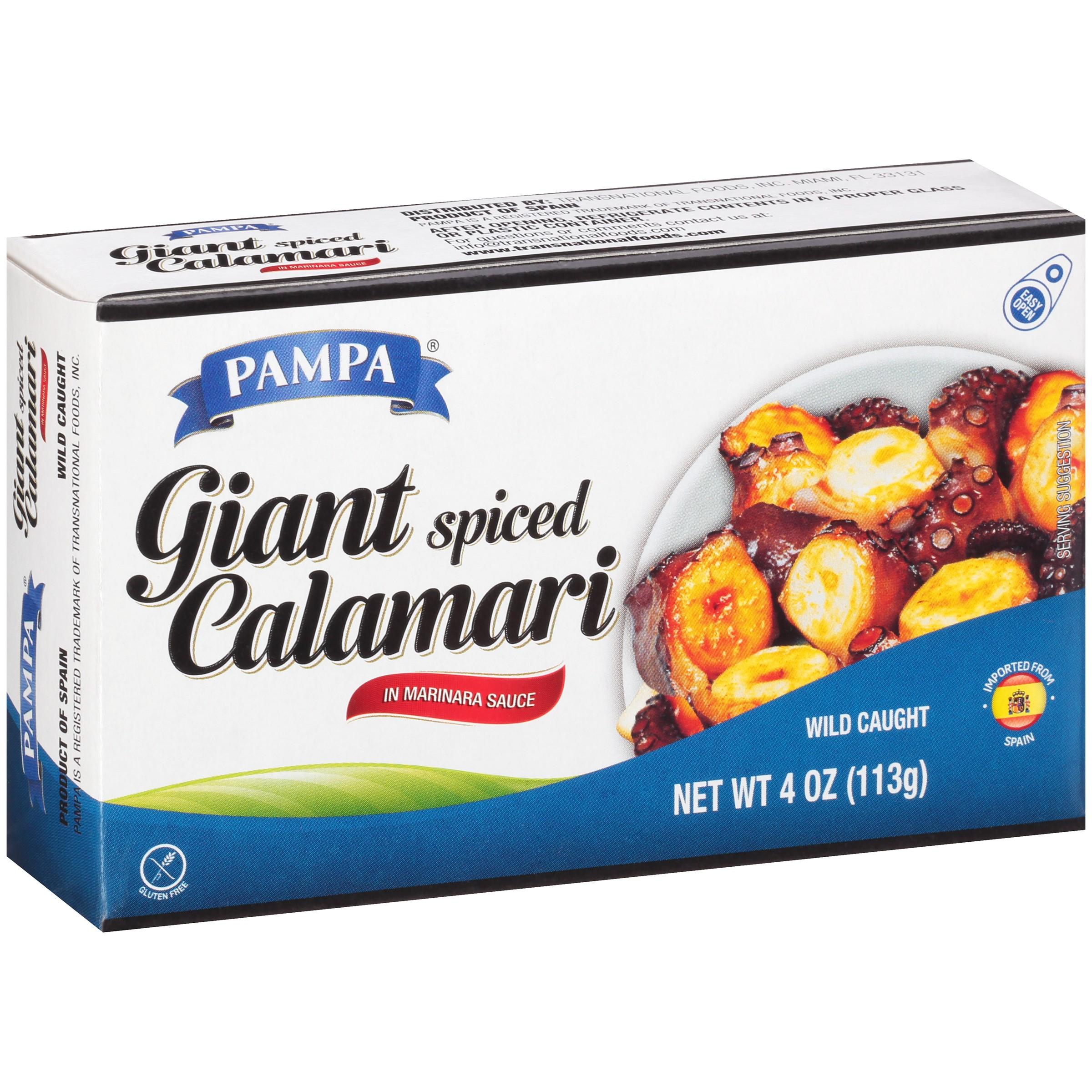 Pampa Giant Spiced Calamari in Marinara, 4 oz Box