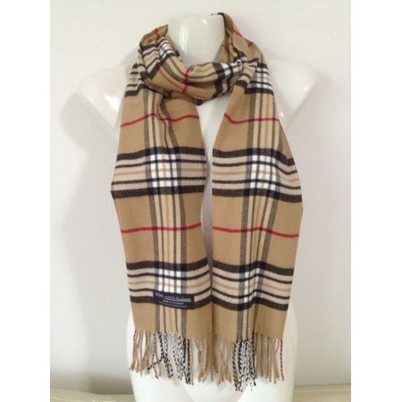Cashmere Feel Plaid Scarves(New England Plaid)   Camel by Deluxe Comfort