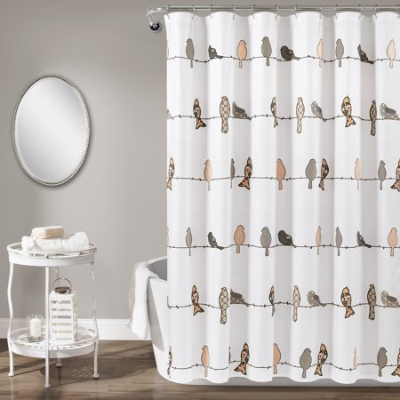 Rowley Birds Shower Curtain Blush/Gray - Lush Décor