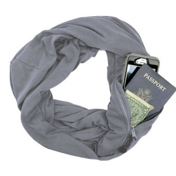 Convertible Infinity Scarf With Pocket All-match Loop Scarf Women Winter Zipper Pocket