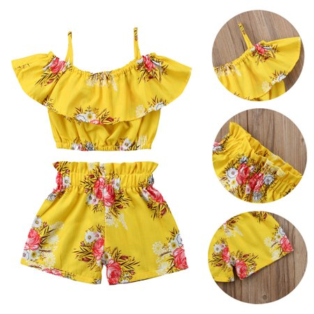 Summer Toddler Baby Girl Clothes Ruffle Floral Halter Top+Shorts Pants Outfits 2pcs/Set 2-3 Years