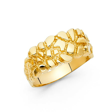 - Solid Nugget Band Ring 14k Yellow Gold Textured Polished Finish Diamond Cut Mens 10MM