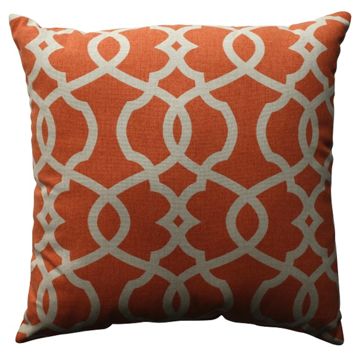 "18"" Citrus Orange Scrolling Decorative Throw Pillow"