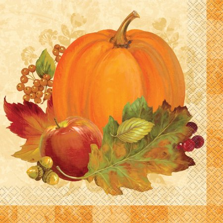 Pumpkin Harvest Fall Paper Luncheon Napkins, 6.5 in, 16ct - Fall Tableware