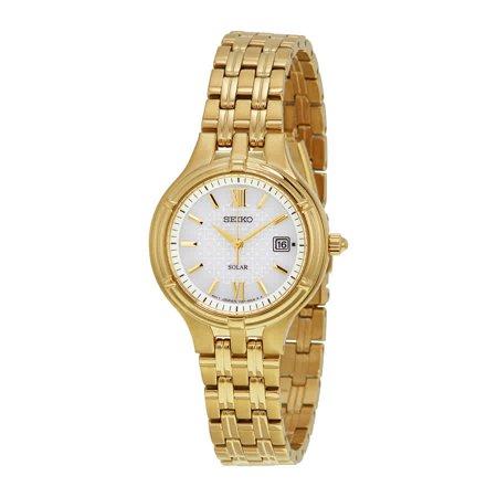 Seiko Ladies Diamond Coutura Silver Tone Watch (Core Silver Dial Gold-tone Ladies Watch SUT220 )