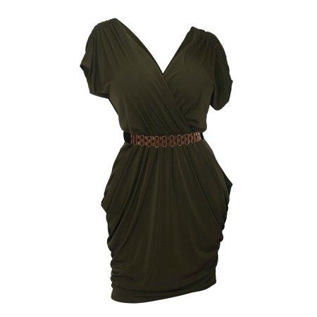 07390e02f6 eVogues Apparel - eVogues Plus size Deep V-Neck Wrap Bodice Dress Dark  Olive Green - Walmart.com