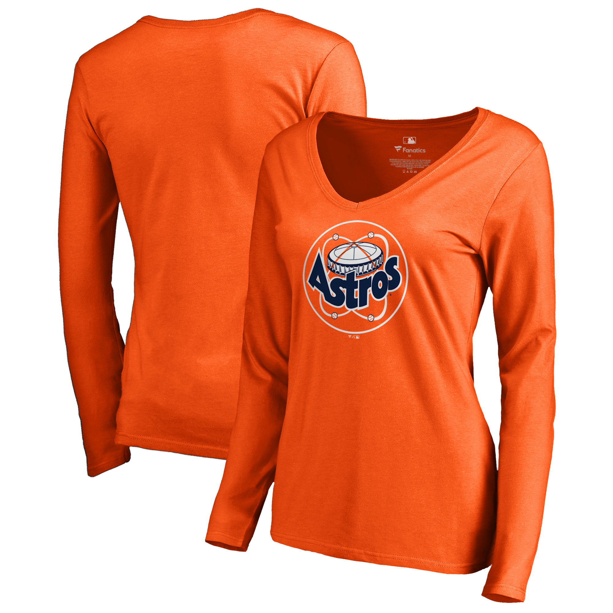 Fanatics Branded Women's Cooperstown Collection Huntington Long Sleeve V-Neck T-Shirt - Orange