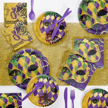Creative Converting Masks of Mardi Gras Paper/Plastic Disposable Party Supplies Kit (Mardi Gras Supply)