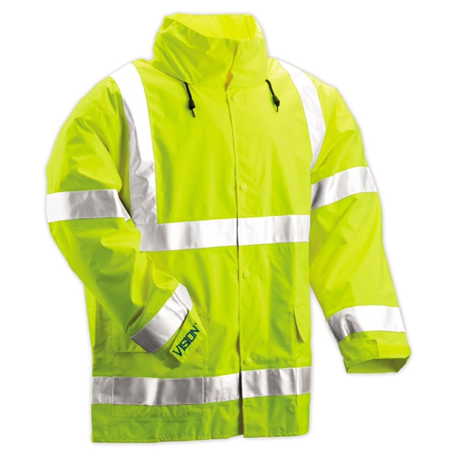 TINGLEY J22208 Rain Jacket with Hood Snaps, Green, XL