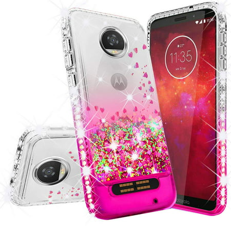 Moto E4 Plus Glitter Case (USA Version) with Temper Glass Screen Protector for Girls Women,Bling Shiny Quicksand Liquid Clear TPU Protective Case for Moto E Plus (4th Generation) -