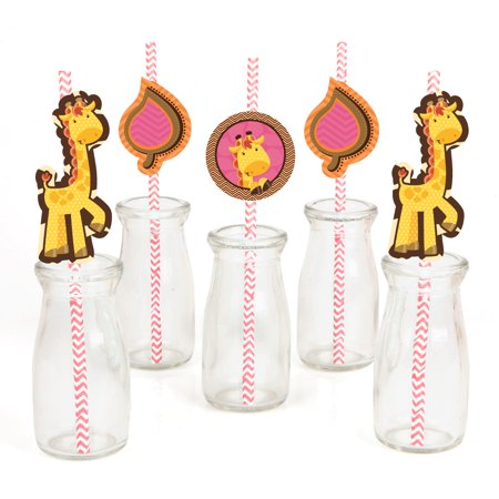 Girl Baby Shower Decor (Giraffe Girl - Paper Straw Decor - Baby Shower or Birthday Party Striped Decorative Straws - Set of)