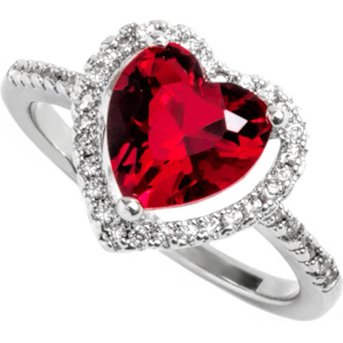 Pori Jewelers Swarovski Elements 14kt White Gold-Plated Round-Cut July Ruby Ring