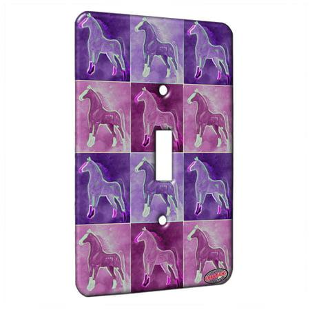 KuzmarK™ Single Gang Toggle Switch Wall Plate - Flaxen Chestnut American Saddlebred on Purple Horse Electric Art by Denise (American Chestnut Folk Art)