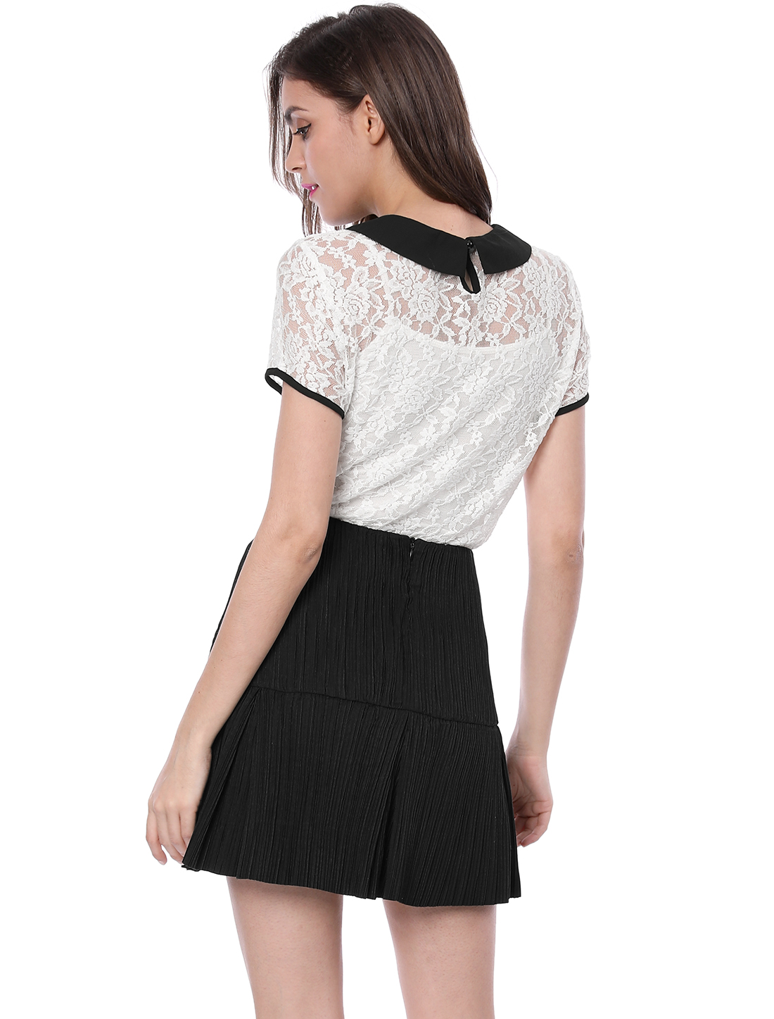 07f89c23ab7104 Allegra K Women See Through Contrast Peter Pan Collar Lace Top White S