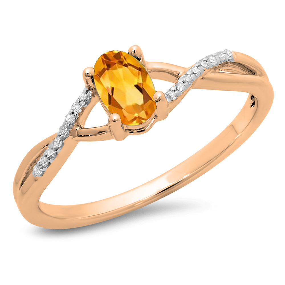 Dazzling Rock 0.50 Carat (ctw) 18K Rose Gold Oval Cut Citrine & Round Cut White Diamond Ladies Bridal Swirl Split Shank Engagement Pro