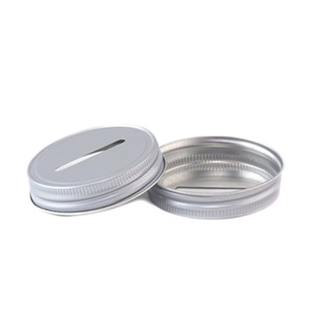 Set of 2 Aluminum Mason Jar Lid with Coin Slot