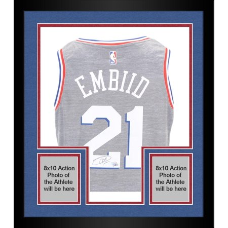 newest 4594f 990bd Framed Joel Embiid Autographed Philadelphia 76ers City Edition Swingman  Jersey - Fanatics Authentic Certified