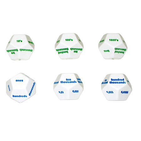 12-SIDED PLACE VALUE DICE SET OF 6 ()