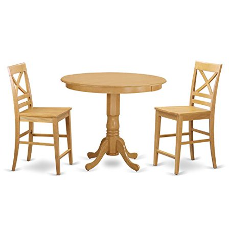 trqu3 oak w 3 piece counter height dining table set high table and 2