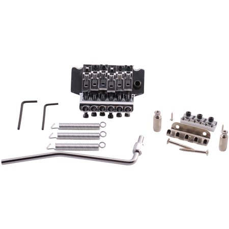 Seismic Audio  Chrome Floyd Rose Style Electric Guitar Bridge Double Tremolo Kit Silver - SAGA17