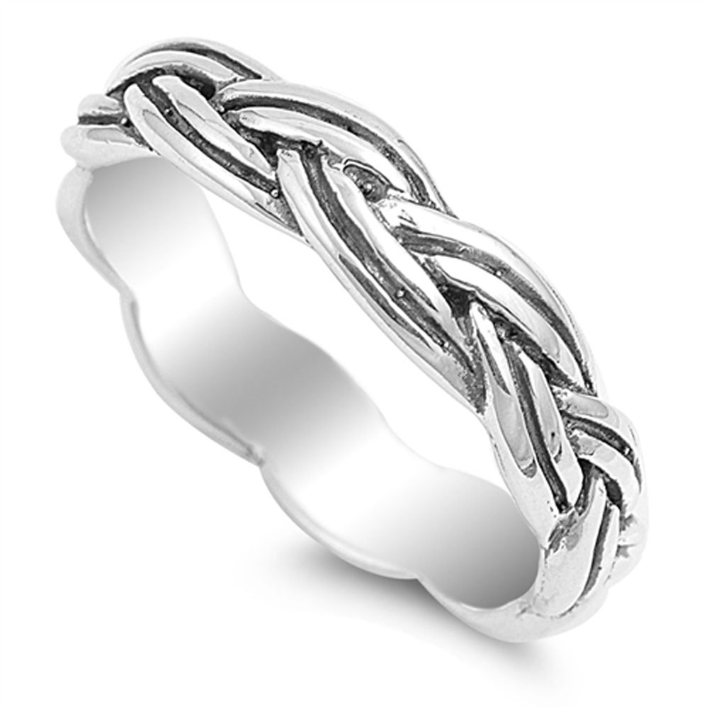 Oxidized Rope Infinity Knot Ring ( Sizes 4 5 6 7 8 9 10 ) .925 Sterling Silver Wedding Band Rings by Sac Silver (Size 4)