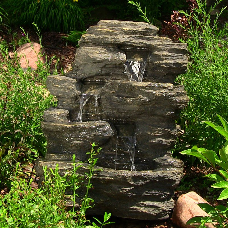 Sunnydaze Rock Falls Outdoor Waterfall Fountain with LED Lights, 24 Inch Tall, 819804011521