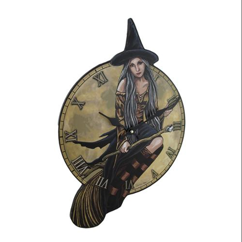 Lisa Parker Witch On Broomstick Wall Clock