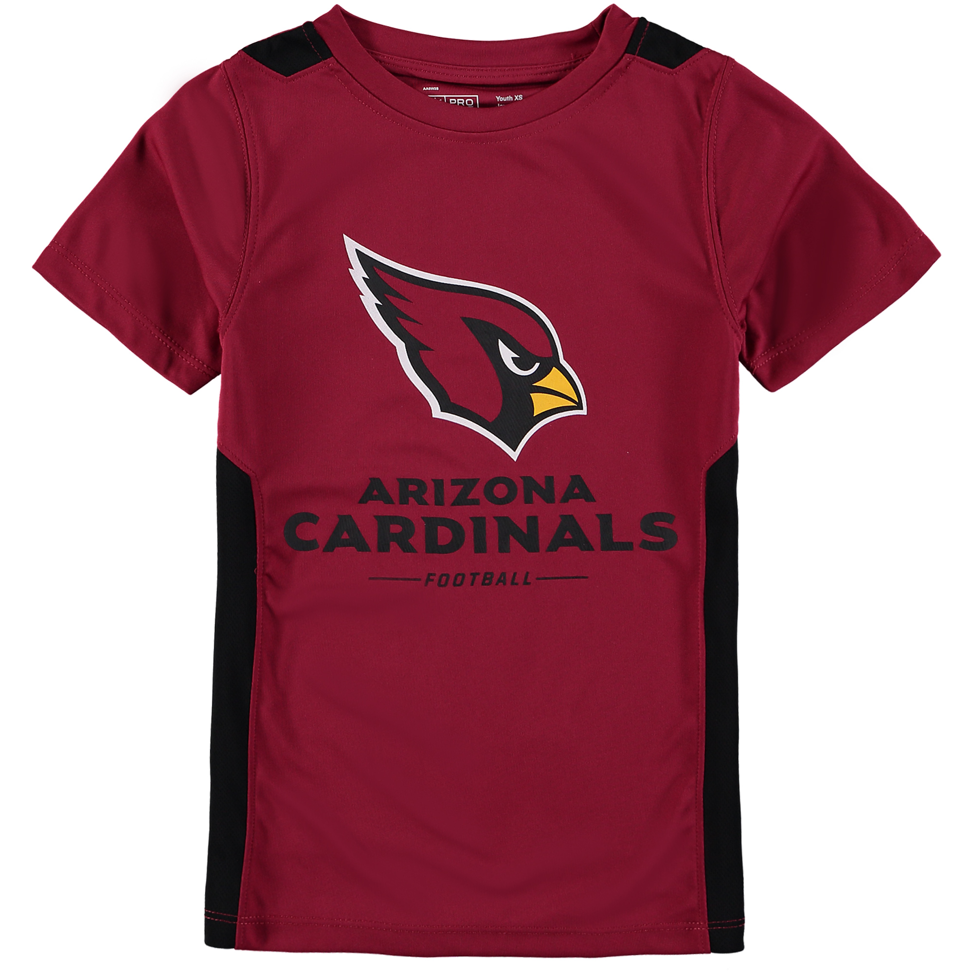 Arizona Cardinals NFL Pro Line by Fanatics Branded Youth Team Lockup Colorblock T-Shirt - Cardinal/Black