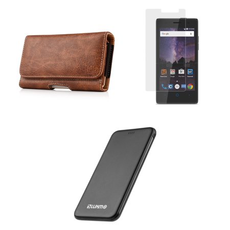 ZTE Majesty Pro LTE / Pro Plus - Bundle: Executive PU Leather Holster Wallet Carrying Case (Card Slots | Coin Holder), Screen Protector, 5000mAh Ultra Slim Power Bank and Atom LED (Executive Leather Portfolio Carrying Case)