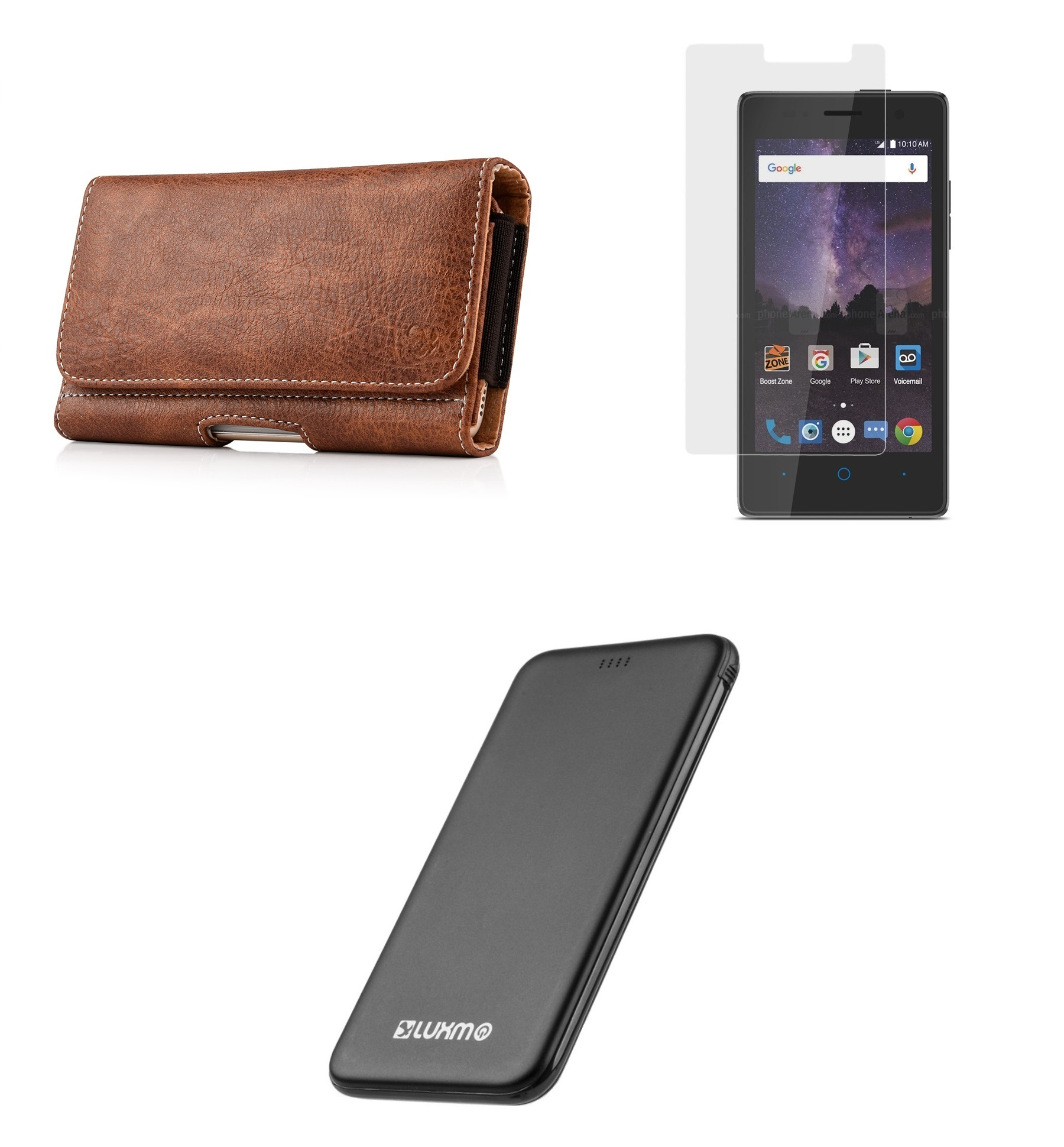 ZTE Majesty Pro LTE / Pro Plus - Bundle: Executive PU Leather Holster Wallet Carrying Case (Card Slots | Coin Holder), Screen Protector, 5000mAh Ultra Slim Power Bank and Atom LED