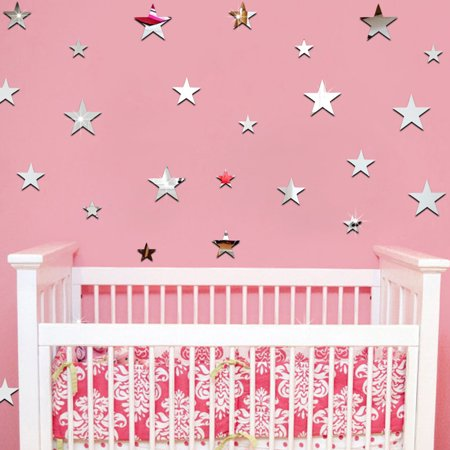 20pcs/set Star Shape Mirror Stickers 3D Acrylic Stars Mirrored Decals DIY Room Home Decoration (Acrylic Wallpaper)