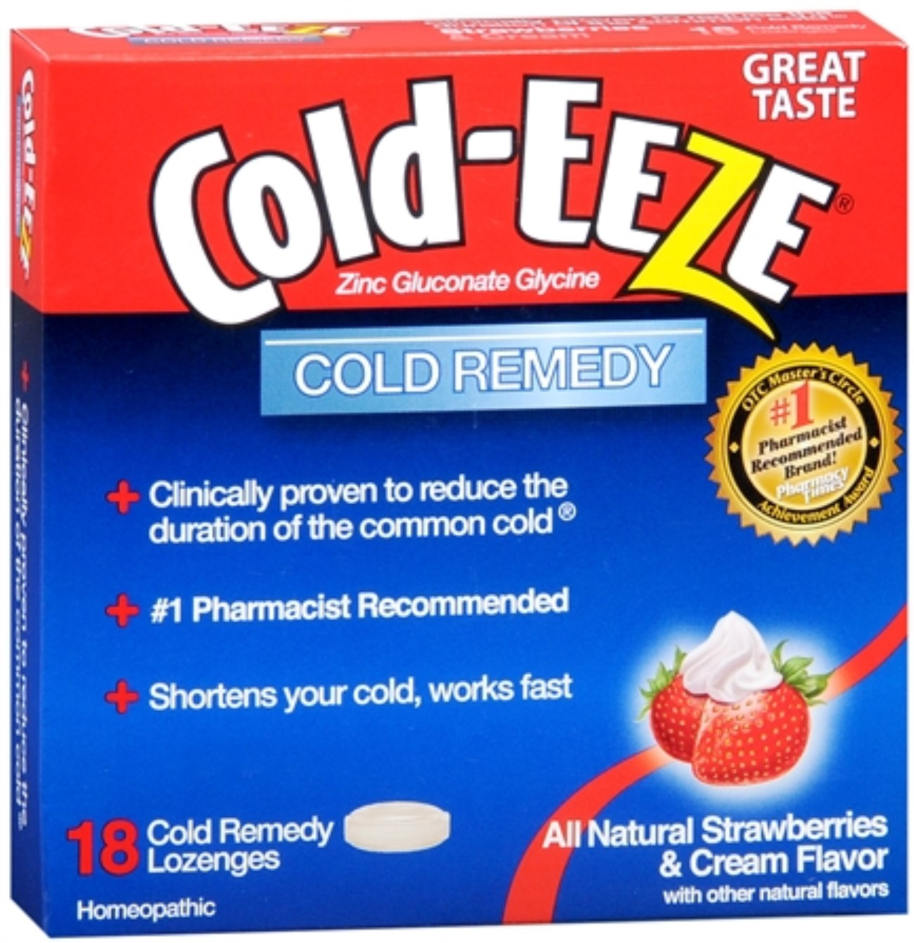 COLD-EEZE Lozenges Natural Strawberries & Cream 18 ea (Pack of 2)