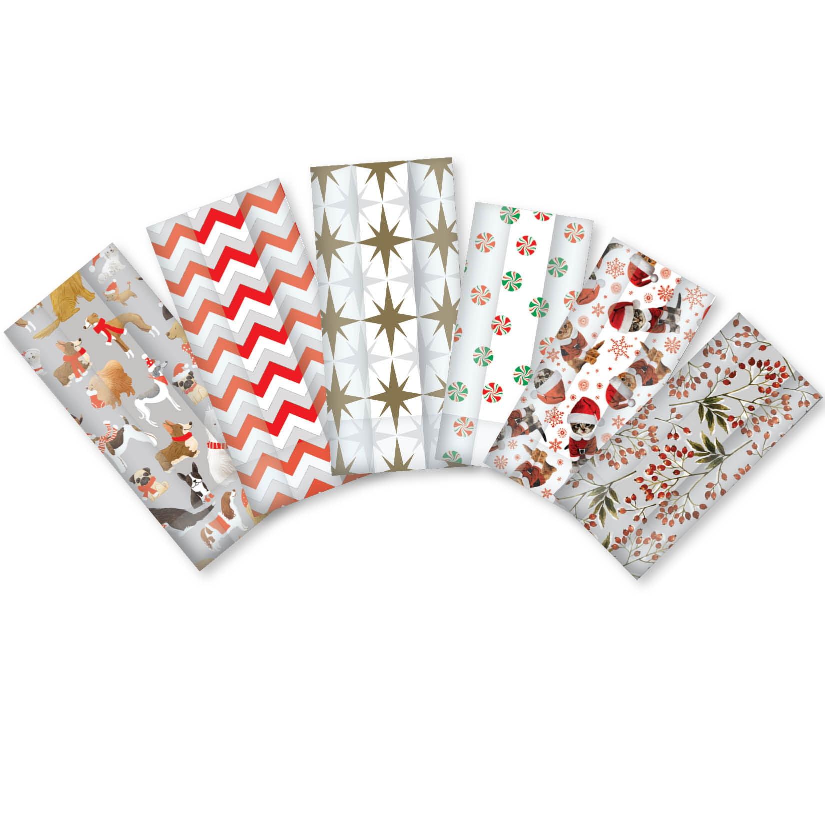 Jillson & Roberts Cello Bag & Twist Tie Assortment, Christmas Designs (48 Bags)