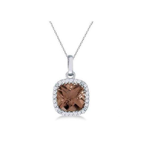 Seven Seas Jewelers Cushion-Cut Smoky Topaz & Diamond Pendant Necklace 14K White Gold (7mm) by Brand New