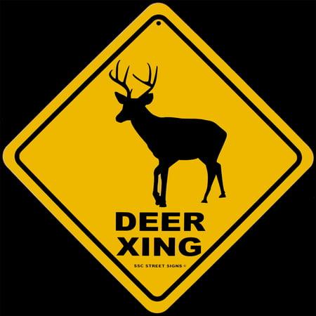 Tin Warning Buck DEER XING Crossing Street Sign Hunting Cabin/Bar/Pub Wall - Crossing Warning Sign
