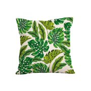 Decorative Cotton Linen Square Throw Pillow Case Cushion Cover Tropical Plants Design