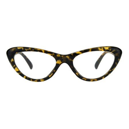 Womens Classic Vintage Goth Narrow Cat Eye Plastic Eyeglasses (White Eyeglass Frames For Men)