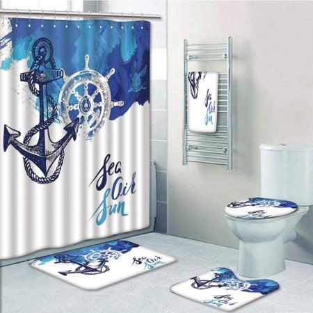 EREHome Vivid Ocean Back with Paint Effects with Wind Rose Rudder Cruise 5 Piece Bathroom Set Shower Curtain Bath Towel Bath Rug Contour Mat and Toilet Lid Cover - image 1 de 2