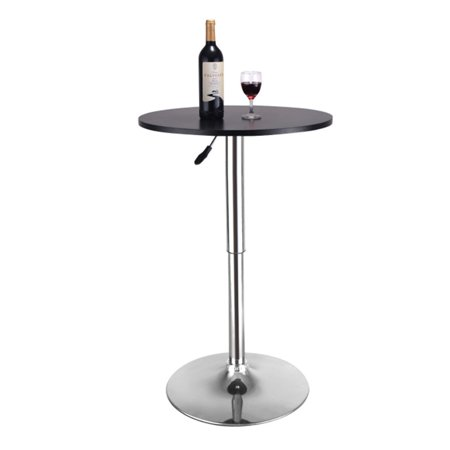 23.6'' Round Adjustable Height Wood Swviel Bar Pub Table Counter Black