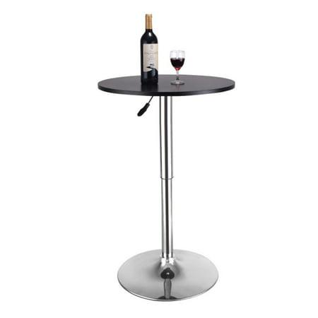 Black Round Bar Table - 23.6'' Round Adjustable Height Wood Swviel Bar Pub Table Counter Black
